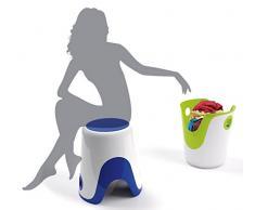 Gedy Wendy - Taburete y cesto para ropa sucia, color blanco y verde