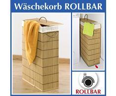 Wenko 7879500 Cesta para la ropa sucia Rodante - extra angosta, rollos, Bambú, 39 x 60 x 18.5 cm, Marrón