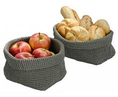 Wenko – Juego häkelkörbchen – Gris – 16 x 16 x 16 cm y 25 x 15 x 15 cm – Frutero – Cesta para frutas y verduras – Cesta de pan