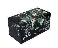 Madre de Pearl Grape Vine doble Cubic negro secreto lacado madera cajón Joyero joyería caja cofre del tesoro caso soporte organizador