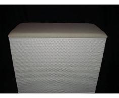 """'Cesto para 3 Compartimento Compaginador Asiento Taburete de ratán color blanco con tres compartimentos fabricado en Alemania """""""