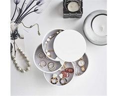 CABILOCK - Organizador de joyas de 4 capas con forma de cilindro apilable, caja de almacenamiento para collares, pulseras, anillos, pendientes (color blanco)
