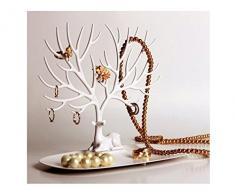 Soporte organizador para anillos, collares y accesorios con diseño de árbol con ciervo, torre organizadora decorativa