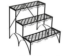 TecTake Estantes para plantas escalera metálica macetas flores estantería 3 niveles - ca. 60x60x60cm - carga máxima: aprox. 30 kg