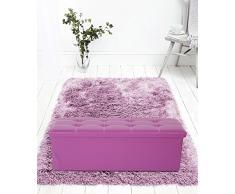 Rebecca Mobili Puff baúl imitación de cuero, asiento acolchado, viola, forrado en cuero sintético - Medidas: 38 x 110 x 38 cm ( AxANxF) - Art. RE4913