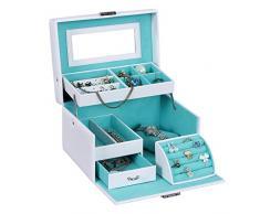 Songmics Caja joyero Organizador para anillos pulseras reloj PU con espejo 22,5 x 17 x 13,5 cm Blanco JBC114W