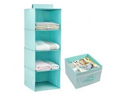 Colgando almacenaje de la ropa para Niños con cajón (4 unidades de la estantería), organizador del armario para la ropa y accesorios, color lindo (verde menta)