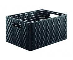 Rotho - Cesta mediana (37 x 28 x 19 cm), color negro