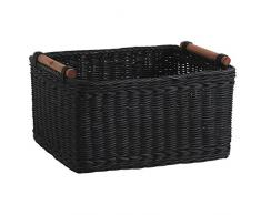 Cesta de mimbre de cajón, color negro