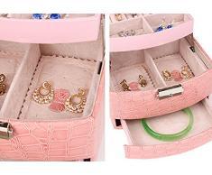 butterme Joyero Chica 3 capas 1 cajón organizador de joyas reflejada Mini viaje caso con candado de seguridad para viaje hogar