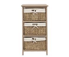 Cómoda en estilo antiguo para baño, pasillo color marrrón con tres cestas en ratán
