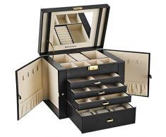 SONGMICS Caja joyero Organizador para Anillos Collares 30 x 25 x 22 cm Nergo JBC217