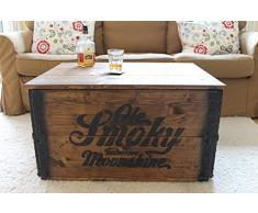 Uncle Joe de estilo vintage Shabby Chic Tennessee Moonshine baúl, madera, marrón, 84 x 55 x 44 cm