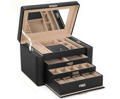 SONGMICS Caja Joyero, Caja para Joyas, Aretes, Anillos, Pulseras, Caja de Almacenamiento JBC04B