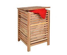 ts-ideen Cesta para la ropa caja taburete con cojín asiento de madera de nogal para baño pasillo sauna color marrón natural