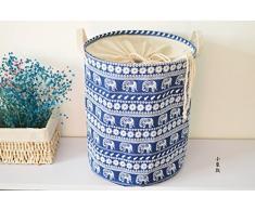 Anzirose Ronda cesto de la ropa impermeable Cesto para la colada Laundry Hamper Plegable Cesta de Ropa Cesta de almacenamiento para Juguete de los niños y más- Azul Elefante