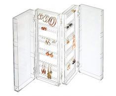 mDesign Organizador de Pendientes Plegable para la cómoda, el Lavabo o el tocador – Caja Plegable Porta Joyas para Pendientes de Todo Tipo – Colgador de Pendientes Compacto de plástico – Transparente