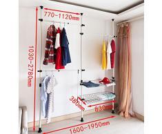 SoBuy® Sistema de perchero extensible L(1600-1950mm)xA(1030-2780mm), metal y plástico, color blanco, FRG34, ES
