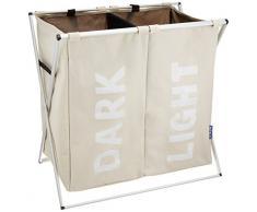 Wenko 3440112100 - Separador de ropa sucia con 2 cámaras, de poliéster y aluo, 59 x 57 x 38 cm, color beige