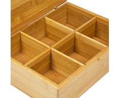 WoodLuv – Cesto 6 compartimento para bolsas de té caddy caja organizador y almacenamiento – , de bambú Natural
