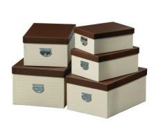 Premier Housewares - Cajas de almacenaje rectangulares (25 x 50 x 35 cm, juego de 5 unidades), color crema