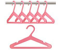 50 Perchas de plástico infantiles, rosa -26CM