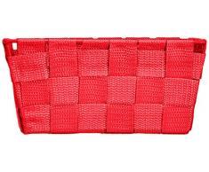 Wenko Adria - Cesta para el baño y el hogar de forma alargada, material plástico tejido, de tamaño mini, 19 x 9 x 14 cm, color rojo