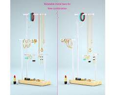 JDS055 – Soporte de cadena – 3 varillas giratorio (Max Altura 51 cm), madera árbol Cadena Soporte Reloj Soporte Almacenamiento joyería para collares, pendientes, anillos, relojes y pulseras (Natural Madera Joyas Estante)