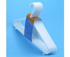 Perchas plásticas de calidad en color blanco con barra para pantalones y ganchos para prendas de tirantes y faldas -Tamaño 36cm (20 Unidades)