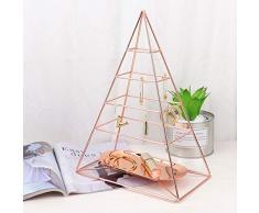 MORIGEM - Organizador de Joyas, pirámide de 4 Niveles, Soporte Decorativo para Joyas, Expositor con Bandeja de Metal para Collares, Pulseras, Pendientes y Anillos, Oro Rosa