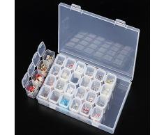 Organizador de plástico con 28 pequeños contenedores cuadrados; organizador de cuentas de joyería, diamantes de imitación, pendientes, collares etc.