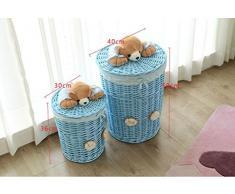 Canasta de bambú Cesto de almacenamiento de mimbre cestas de almacenamiento de ropa sucia cesto de almacenamiento cubo de juguete, ancho de boca grande 40-alto 50 Cesta de regalo de fruta ( Color : #2 , Tamaño : 30*36cm )