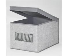 mDesign - Caja organizadora, de tela, para el armario del cuarto del bebé; guarda ropa, sábanas, toallas, baberos - grande - Gris