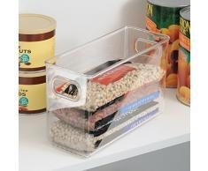 InterDesign Cabinet/Kitchen Binz Caja organizadora, organizador de cocina mediano en plástico, cajón para frigorífico alargado, transparente