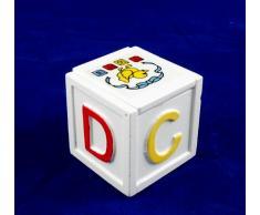 Miniatura Para Casa De Muñecas infantil muebles Blanco Madera CINTAS ABC Juguete baúl
