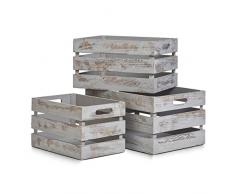 Zeller 15136 Caja de Almacenamiento, Madera, Gris, 31x21x18.7 cm