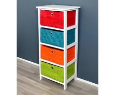 Cómoda estantería en blanco, en ratán, con cuatro cestas en naranja, verde, azul y rojo