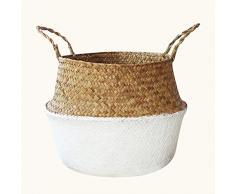 Seasaleshop Canasta de Mimbre Plegable Canasta de Paja para lavandería, y almacenar y organizar Juguetes, Ropa,pícnic, Fruta o plantas22 * 19cm/27 * 23cm/31 * 27cm