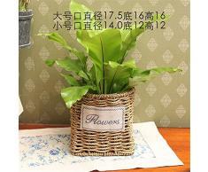 Creative puro rattan mimbre paja hechos a mano la pared cuelgan canasta de flores en macetas decoración pot inicio productos,D,17x16cm