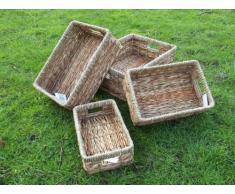 Cesta para estanterías, cajones de mimbre cesta de cubiertos y metal GR, 1