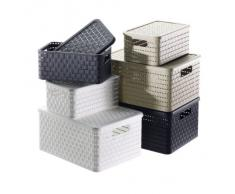 Rotho Country - Caja de almacenaje con efecto de mimbre (14 l, cuadrado, dimensiones 32,8 x 30 x 16 cm), color blanco
