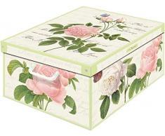 Collection Rose Caja en Carton, Blanco/Verde/Rosa, 39 x 50 x 24 cm