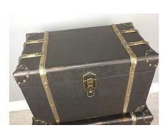 Juego de 2 baúles de Almacenamiento de Estilo Vintage, Color Negro y Dorado