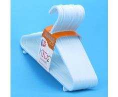 Juego de 18 perchas infantiles de plástico blanco para ropa infantil y de bebé, pantalones, faldas, y tops -29cm