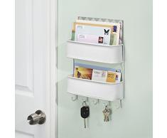 InterDesign - Twillo - Organizador de correspondencia en 2 niveles; para almacenamiento en cocina, vestíbulo, hall de entrada - 5 ganchos - Blanco