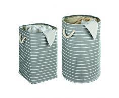 Wenko 35521100 Pongotodo Maritim redondo - cesta para la ropa, 75 L, Papel, 40 x 60 x 40 cm, Color Verde