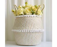 Maceta para Flor SUNNSEAN Plegable de Maceta Seagrass Cesta de Mimbre Maceta Plegable Cesta Sucia Canasta de Almacenamiento Decoración Maceteros (BlancoB, 32×28cm)