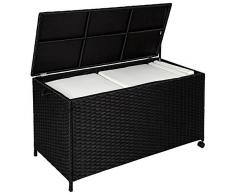 TecTake Caja de Almacenamiento Aluminio Poli ratán jardín Mimbre para Cojines + Ruedas | 117 x 54,5 x 65 cm