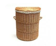 La mitad Ronda de mimbre cesta de lavadero forrado