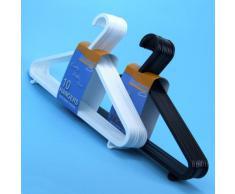 Perchas plásticas de calidad en colores blanco y negro con barra para pantalones y ganchos para ropa de tirantes y faldas -Tamaño 36cm. 20 Unidades